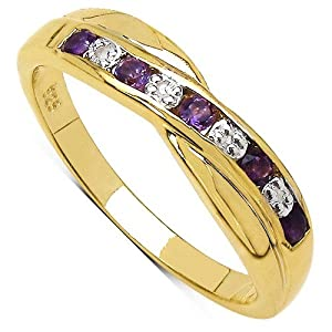 The Amethyst Ring Collection: Beautiful 14K Gold Plated Sterling Silver Amethyst & Diamond Channel Set Crossover Eternity Ring (Size M)