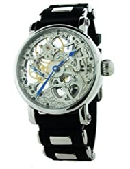 Rougois Hand Wind Silver Tone Skeleton Watch w/Blue Hands RG61