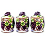 GRAPE 3-D Canisters Set of 3 - GRAPES ^NEW^ Canister