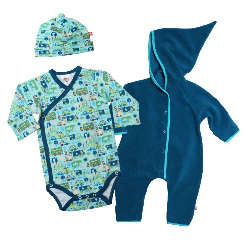 Zutano Baby-Boys Newborn Elf Romper with Road Trip Long Sleeve Body Wrap and Hat Set, Multi, 6 Months