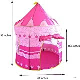 Girl's Pink Princess Castle Play Tent - Indoor and Outdoor Use