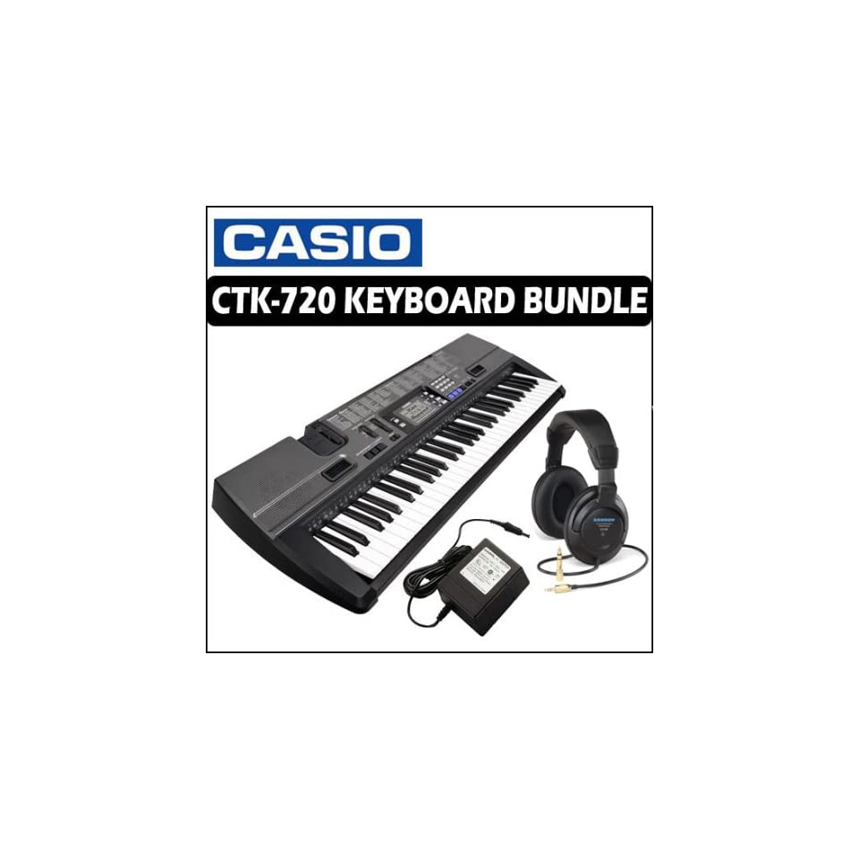 Casio CTK 720 61 Key Portable Keyboard with Power Supply and Headphones