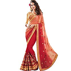 Vasu Saree For Women Pink Shaded Party Wear Embroidered Saree With Designer Zari Floral Lace Work On Border