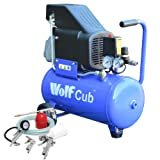 Wolf Cub 24 Litre, 1.5HP, 6.35CFM, 230V, MWP 116psi Air Compressor + 5 Piece Air Tool Kit