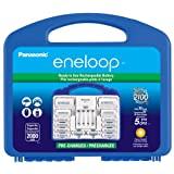 """Panasonic K-KJ17MCC82A eneloop Power Pack, NEW 2100 Cycle, 8AA, 2AAA, 2 """"C"""" Spacers, 2 """"D"""" Spacers, """"Advanced"""" Individual battery charger"""