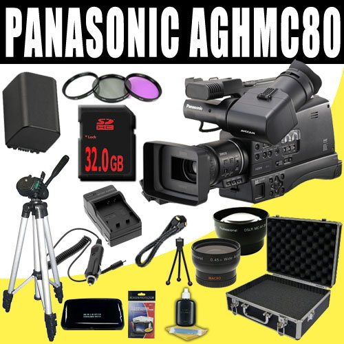 Panasonic AG-HMC80 3MOS AVCCAM HD Shoulder-Mount Camcorder + VBG260 Battery/Charger + Filter Kit + 32GB SDHC + Wide Angle/Telephoto Lenses + Pro Hard Case HDMI DavisMAX Pro MASSIVE Kit Bundle