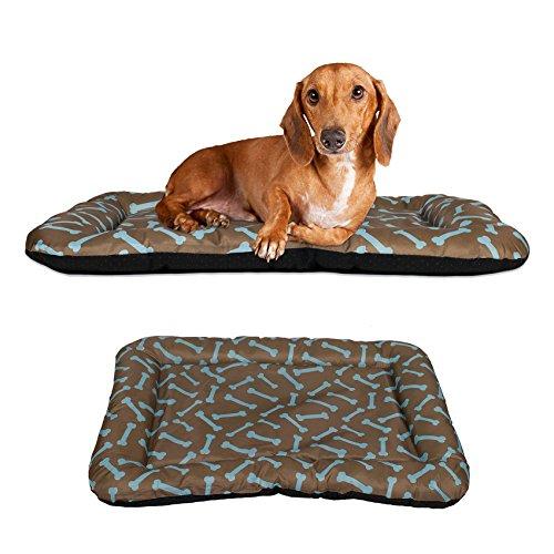 Dog-Crate-Pad-Bolster-Bed-Pet-Mat-Waterproof-Bone-Pattern