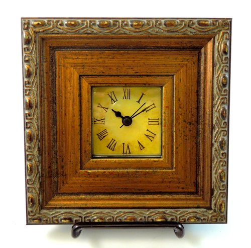 6.5 x 6.5 Wooden Framed Picture Desk Side Night Table Mantle Wood Clock w/ Stand