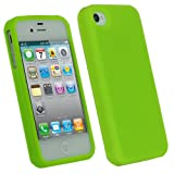 IGadgitz Green Silicone Skin Case Cover for Apple iPhone 4 HD & 4S 16GB 32GB 64GB + Screen Protector