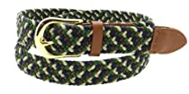 Green Brown Beige & Blue Braided Elastic Stretch Leather Tipped Belt Gold Leather Buckle - Large