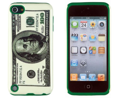 Dandycase 2In1 Hybrid High Impact Hard Hundred Dollar Bill Pattern + Green Silicone Case Cover For Apple Ipod Touch 5 5G (5Th Generation) + Dandycase Screen Cleaner