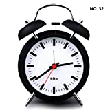 "HITO&153; 4"" Silent Quartz Analog Twin Bell Alarm Clock With Nightlight And Loud Alarm (NO32)"