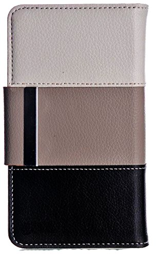 Mylife Dark Coffee {Classic Striped Design} Faux Leather (Card, Cash And Id Holder + Magnetic Closing) Slim Wallet For Galaxy Note 3 Smartphone By Samsung (External Textured Synthetic Leather With Magnetic Clip + Internal Secure Snap In Closure Hard Rubbe