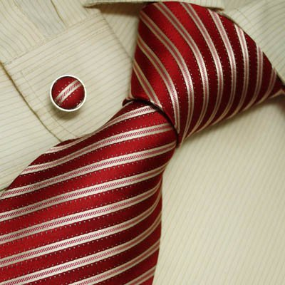 Burgundy Striped Tie for Men Dark Red Stripes Handmade Discount Silk Ties Cufflinks Set A1016