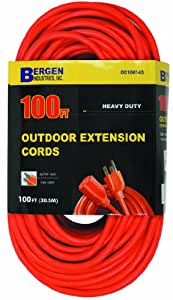 bergen industries oc100143 100 ft 14 3 sjtw orange outdoor extension cord orange lamp. Black Bedroom Furniture Sets. Home Design Ideas