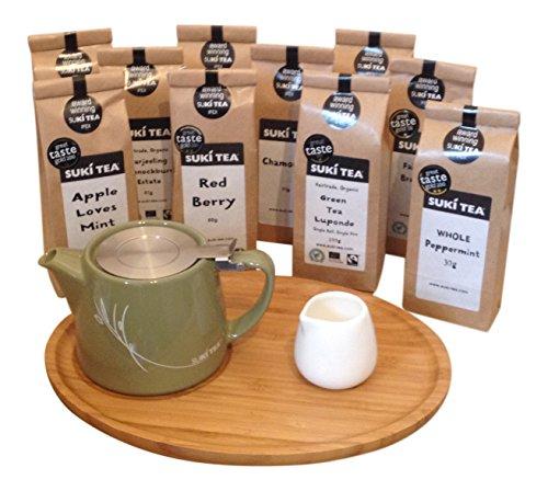 olive-green-suki-forlife-18oz-stump-loose-leaf-teapot-with-bamboo-tray-creamer-suki-tea-80g-red-berr
