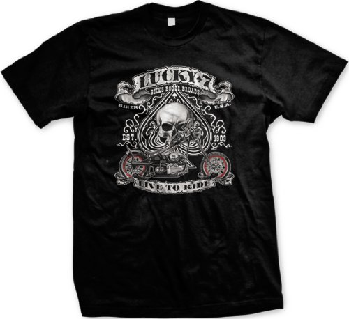 Lucky Seven, Live To Ride Motorcycle Mens T-shirt, Spade Skull Chopper Design Mens Tee Shirt, XX-Large, Black