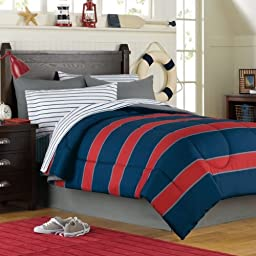 Blue & Red Rugby Stripe Boys Twin Comforter Set (6 Piece Bed In A Bag)