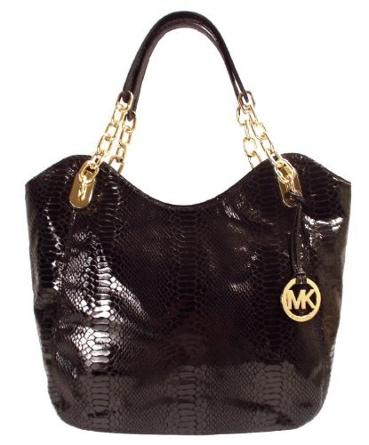 Michael Kors Lilly Md Tote Black Python