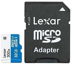 Lexar 32 Go Carte mémoire MicroSDHC Classe 10 UHS-I avec Adaptateur SD LSDMI32GBBEU300A