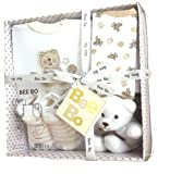 BabyPrem Baby Gift Set 0 - 3 Months - Bodysuit, Socks, Bib & Toy - Cream
