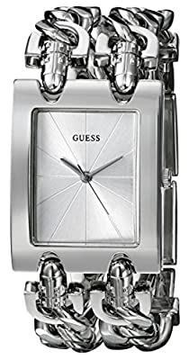 GUESS Women's G75916L Brilliance on Links Silver-Tone Watch with Link Bracelets