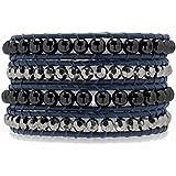 Rafaela Donata Bracelet femme cuir véritable bleu foncé hématite gris beads de plastique argenté 60291065