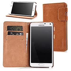 Arbalest Samsung Galaxy Note 4 Wallet Leather Case, [Foldable Kickstand] Soft Matte PU Leather Flip Folio Cover Case with Card Slots and Magnetic Lip for Samsung Galaxy Note 4 - Brown