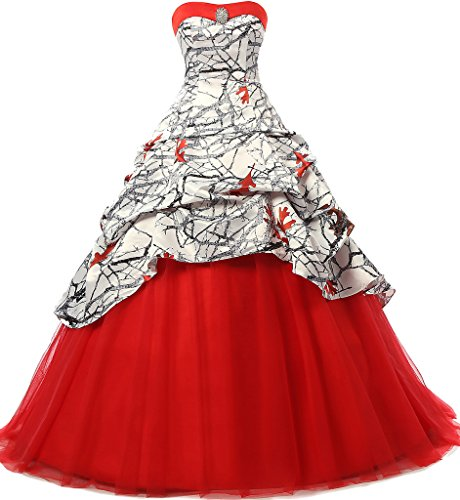 JAEDEN Gothic Wedding Dresses Ball Gown Quinceanera Dress Prom Gown Camouflage Red US18