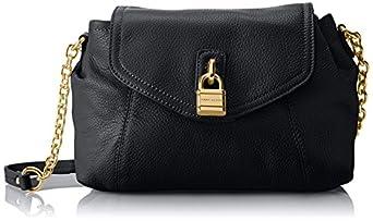 Tommy Hilfiger Chain Lock Flap Pebble Cross Body Bag,Black,One Size
