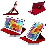 Custodia Borsa in Pelle Rosso Lusso 360° Funzione Sonno/Svegliarsi Samsung Galaxy Tab 4 10.1 T530 T531 + PELLICOLA e PENNINO