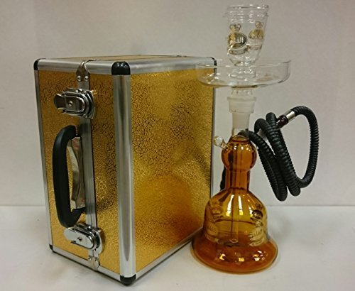 Alfakher Glass Hookah with Metal Case Amber