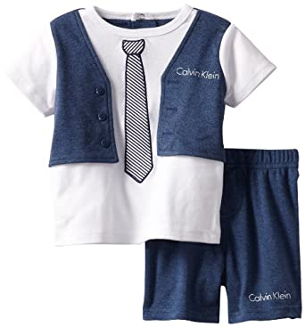 Calvin Klein Baby-Boys Infant Denim Mock Vest Tee with Shorts, Blue, 18 Months