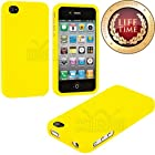 myLife (TM) Sun Yellow Series (2 Piece Snap On) Hardshell Plates Case for the iPhone 4/4S (4G) 4th Generation Touch Phone (Clip Fitted Front and Back Solid Cover Case + Rubberized Tough Armor Skin)