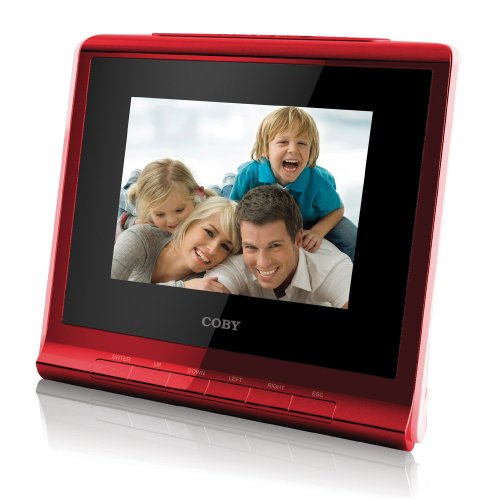 Coby DP356RED 3.5-Inch Digital Photo Frame with Alarm Clock (Red)