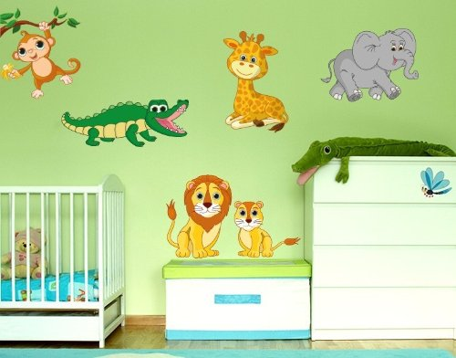Style and Apply Colorful Safari Animal Wall Decal Set