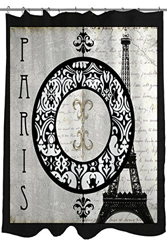 Thumbprintz Shower Curtain, Paris Circle Eiffel Tower front-1010744