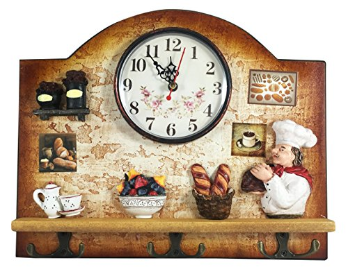 Heartful Home Fat Italian Chef Kitchen Decor Clock with Hooks - Unique Idea for a Wedding or Housewarming Present (Fat Chef Kitchen Wall Art compare prices)