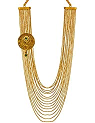 Bindhani Green Kundan Antique Gold Plated Multi-Strand Necklace For Women & Girls