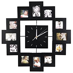 trixes 12 multi photo frame display wall clock
