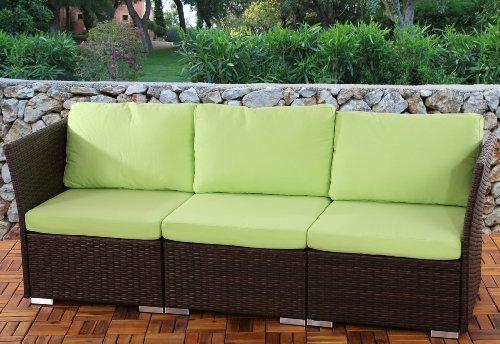 3er Sofa 3-Sitzer Siena Poly-Rattan, Gastronomie-Qualität ~ braun mit Kissen in hellgrün