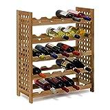 Relaxdays - Cantinetta per Vino in Legno di Noce Oliato 5 Scaffali, Spazio per 25 Bottiglie, 73 X 63 X 25 cm