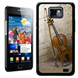 Fancy A Snuggle Violin and Bow Leaning Against Brick Wall Design Hard Case Clip On Back Cover for Samsung Galaxy S2 i9100