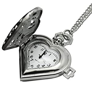 Mighty Gadget Vintage Quartz Movement Heart Shape Silver Pocket Watch w. 31 inch Chain