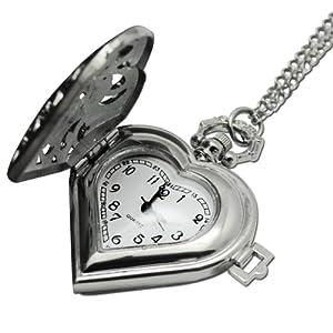 Mighty Gadget Vintage Quartz Movement Heart Shape Silver Pocket Watch w. 31 inch Chain
