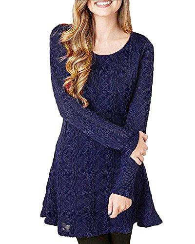 HAPEE Women's Crewneck Knitted Long Sleeve Sweater Dress,Dark Blue,Large