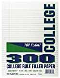 Top Flight Filler Paper, 10.5 x 8 Inches, College Rule, 300 Sheets (4318520)