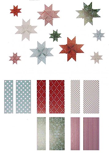 60x Folded Strips for 15x Moravian Stars in 2x Different Widths, Modern Christmas Mix