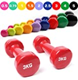 TNP Accessories® Cast Iron Vinyl Lifting Dumbbell Set Weights Gym Exercise Pilates