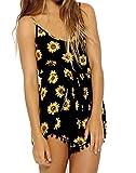 Hengsong-Style European-Women Sexy Vintage Straps Sunflower Floral Jumpsuit Pants Playsuit Shorts (M UK10 buste 88cm)